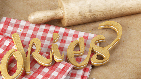 Abelina font sixnfive 3D type design graphic CGI kitchen toasted cookies nuts glass bread 3D typography