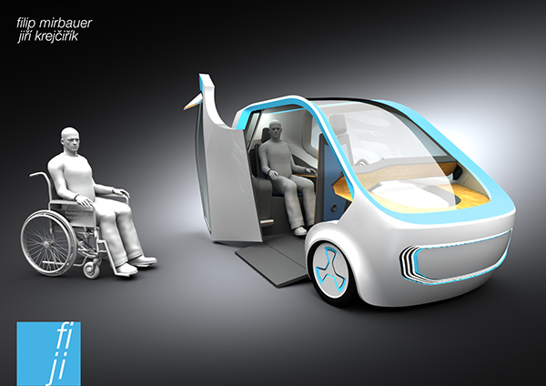 car three wheel vehicle disabled people handicapped car design car concept