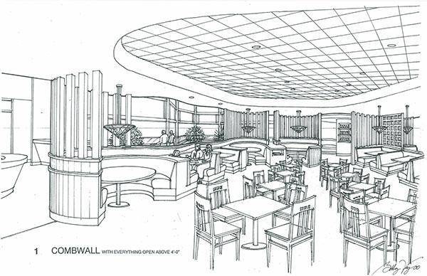 restaurant design3d ink rendering on behance