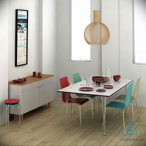 Dining room scene 3d models for sale 3d squirrel on for Dining room 3d view