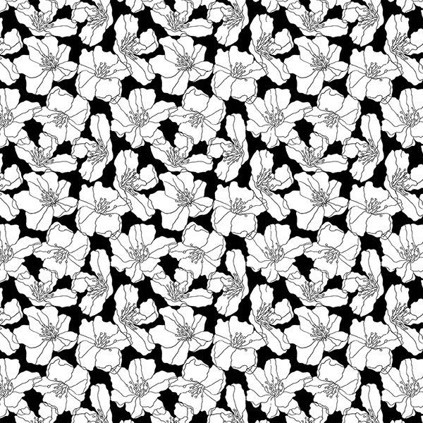 Floral print on behance a black and white floral repeat pattern inspired from the hibiscus flower for use on fabricpaper drawn on paper cleaned through software mightylinksfo