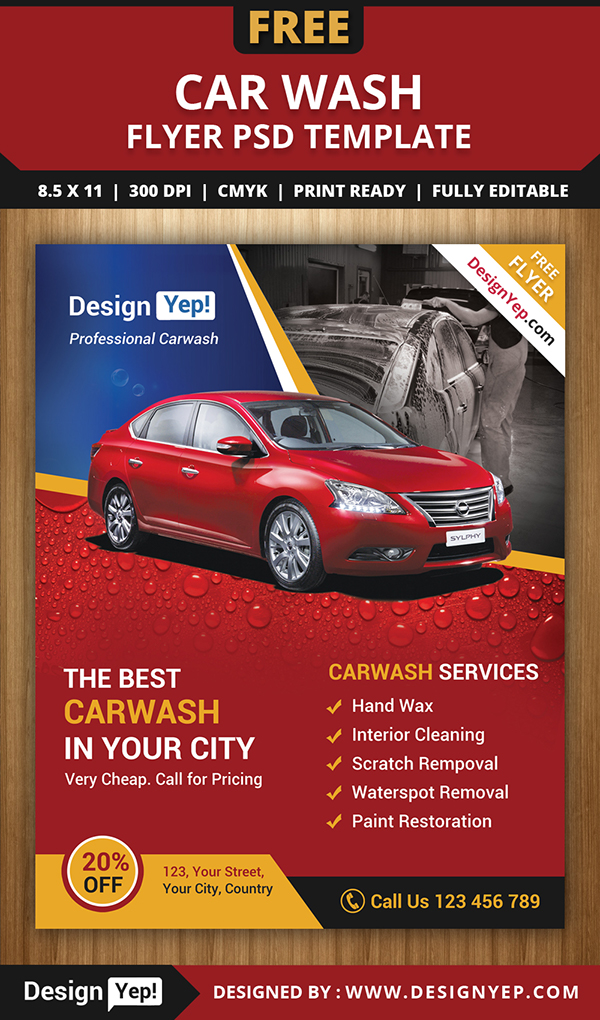 free car wash flyer psd template on behance