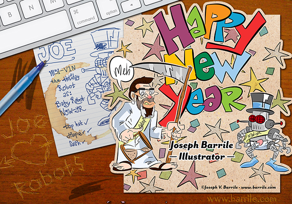 new year card joseph barrile illustrator on behance