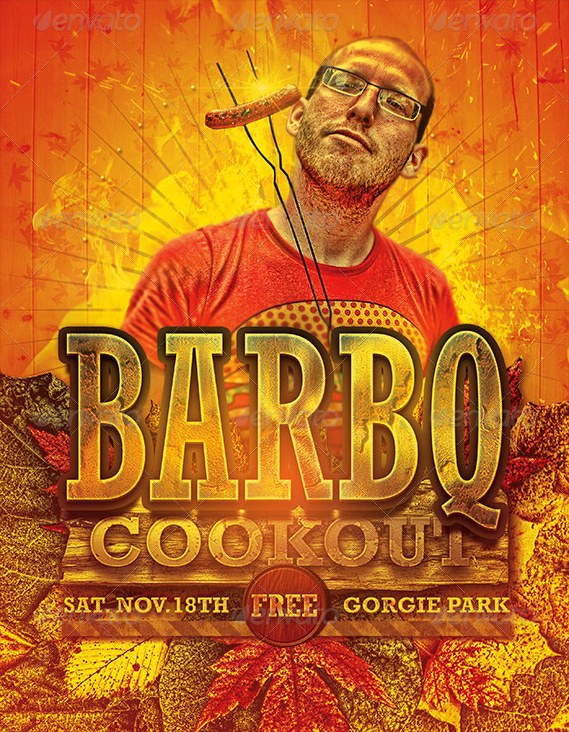 barbecue cookout event flyer template on behance