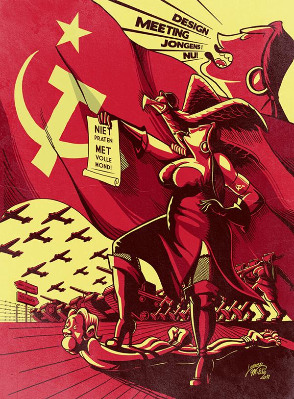 poster Propaganda Soviet communism red War Tank soldier revolution lorenzo milito Illustrator photoshop personal