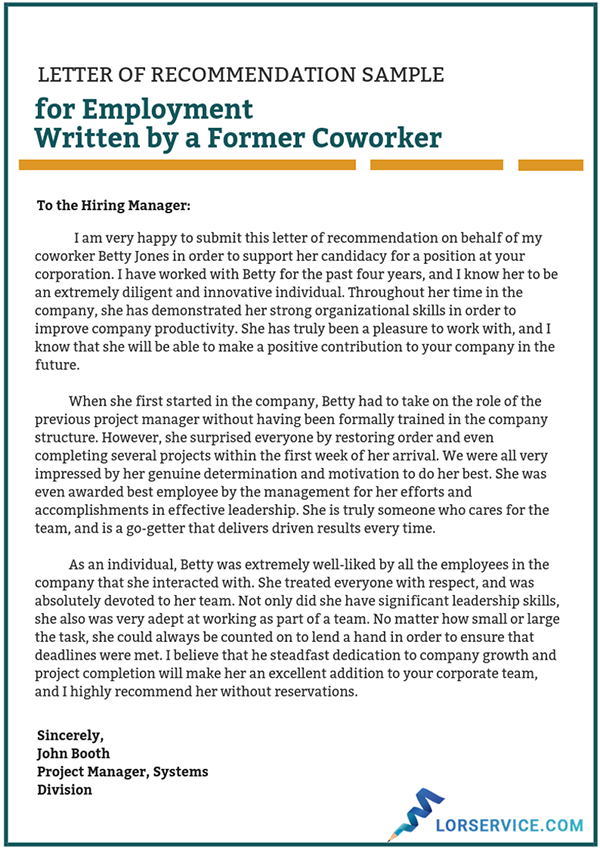 letter of recommendation for coworker sample