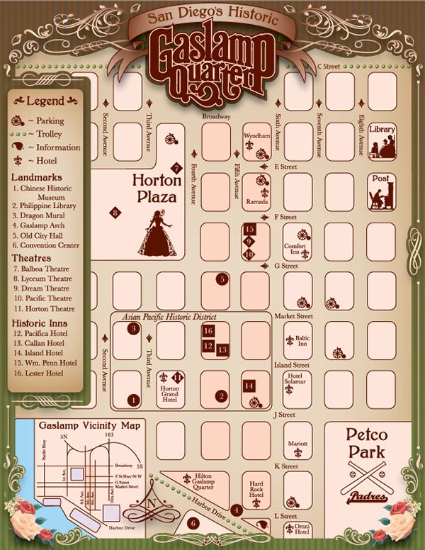 Gaslamp Area map design on Behance