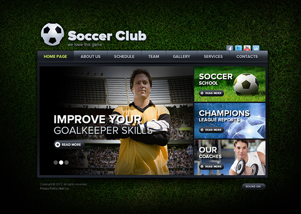 soccer club we love this game html5 template 300111503 on behance