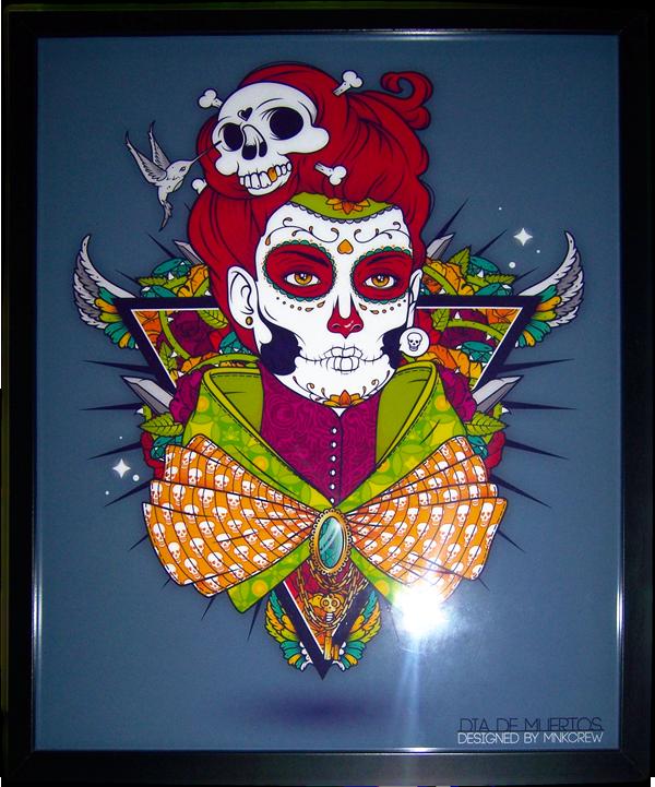 Dia De Muertos muertos Character Illustrator skull bone wings wing rose rosebush diamond  key triangle Posca gold canvas tableau frame mnk mnkcrew mnk crew Glenn Arthur Glenn