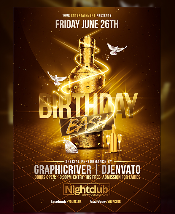 Gold birthday bash flyer template on behance maxwellsz