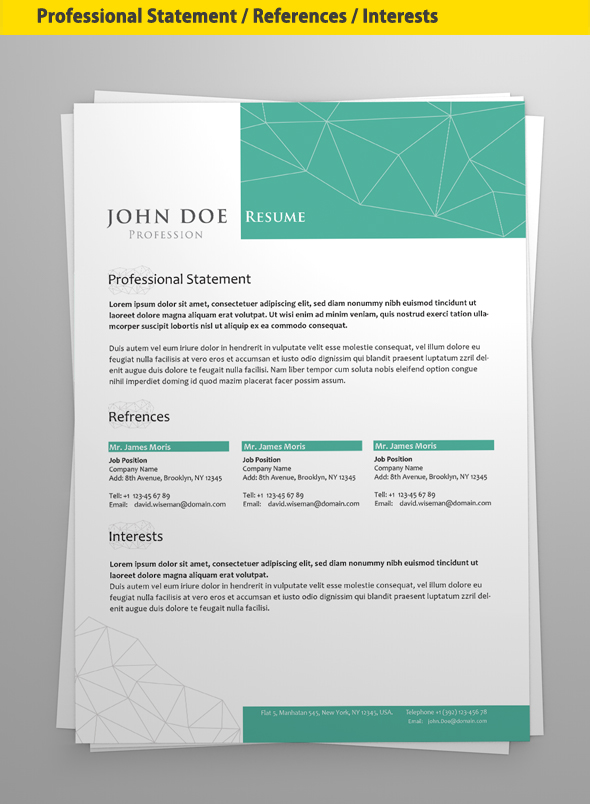 professional resume cv template on pantone canvas gallery