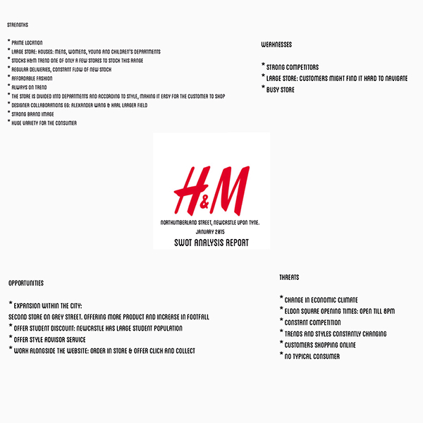 h m pestel This paper evaluates what drive h&m to expand to china since 2007 and how the expansion leads h&m to change their strategy using pestel analysis and swot analysis h&m is a new member to the chinese market this paper will evaluate whether h&m enter chinese market is a good choice and whether they have good strategy to deal with the new market.