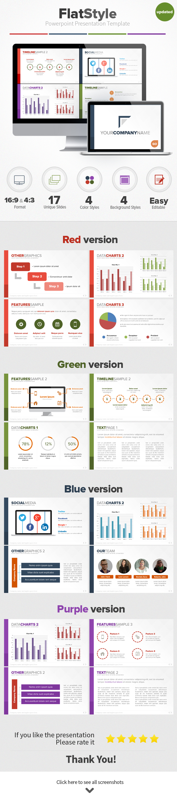 flat style powerpoint presentation template on behance, Presentation templates