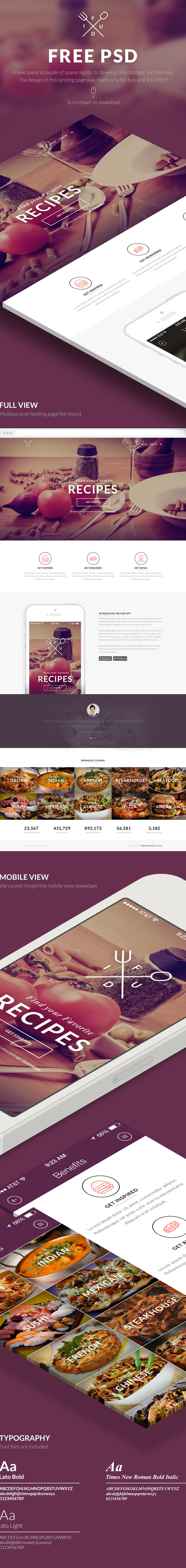 free free psd download flat Multipurpose Theme landing page restaurant Food  recipe mobile respnsive iphone logo