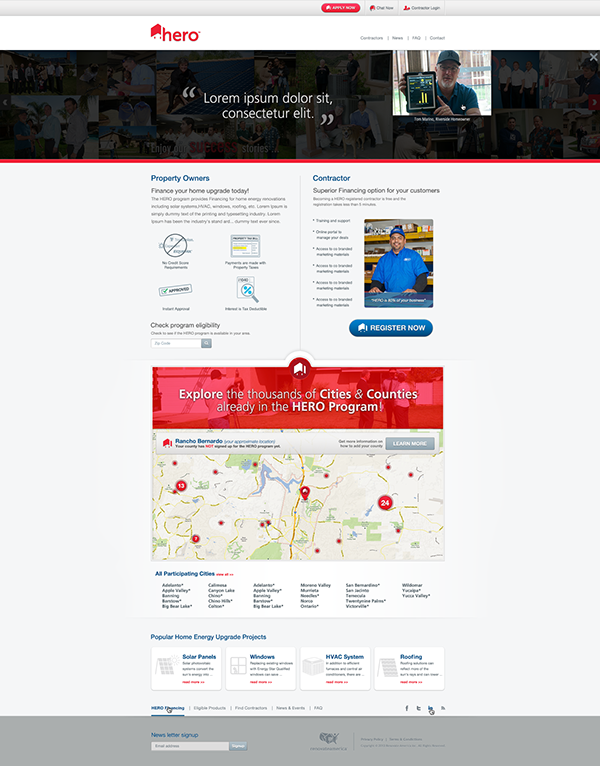 Hero finance visual design user experience contracting Freelance Platform multi-sited