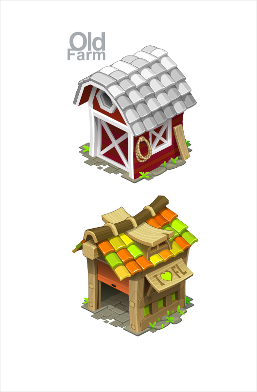 Farmhouse for game on behance for Design your own house game 3d