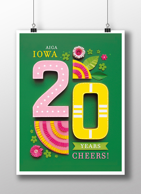 paper poster aiga Birthday anniversary 3D color handmade photo promo papercraft green
