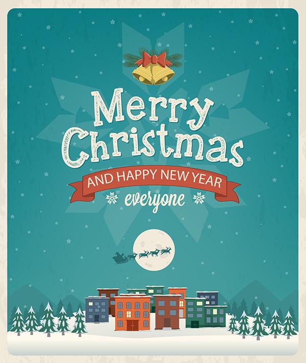 christmas greeting card design vector illustration on behance