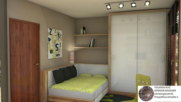 Camera da letto giovanile con area studio on behance - Studio in camera da letto ...