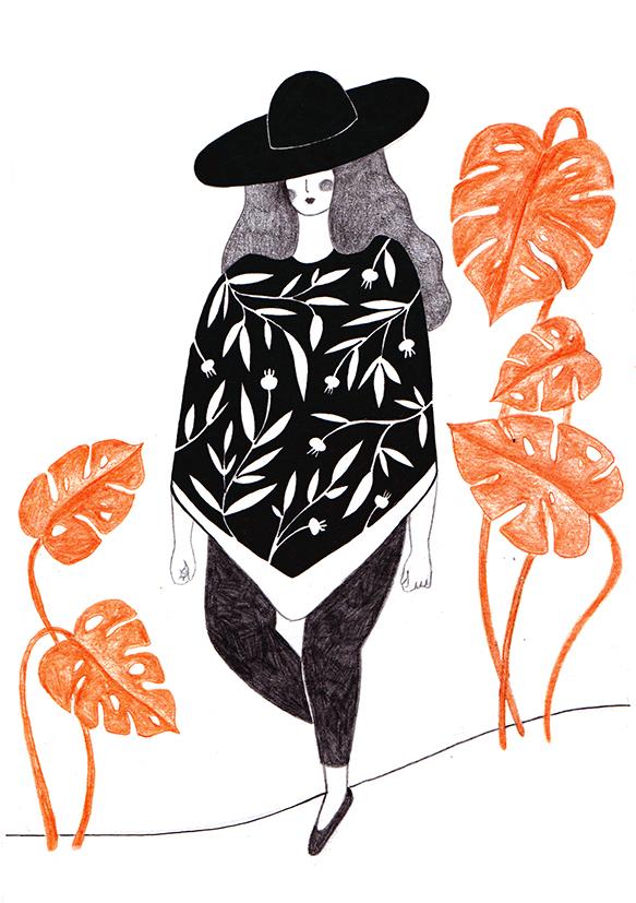 girls redhead draw sketch sketchbook leire bueno colors pencil folk folk art TRADITIONAL ART Nature cultures plants doodle