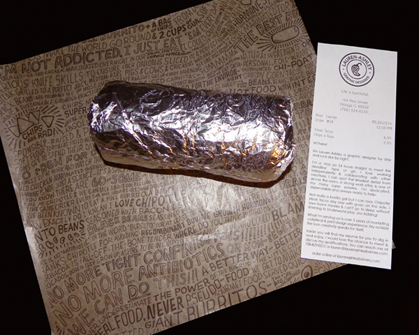 chipotle burrito resume on behance