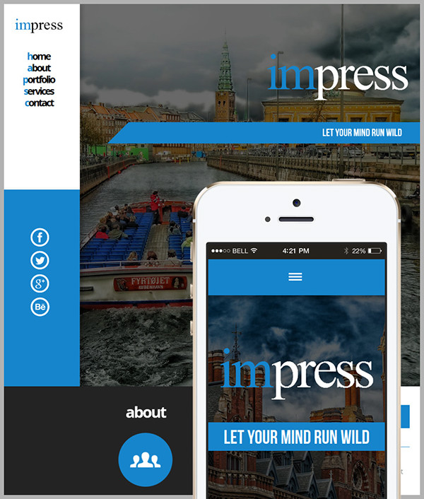 Impress Adobe Muse Website Template On Behance - Adobe muse website templates