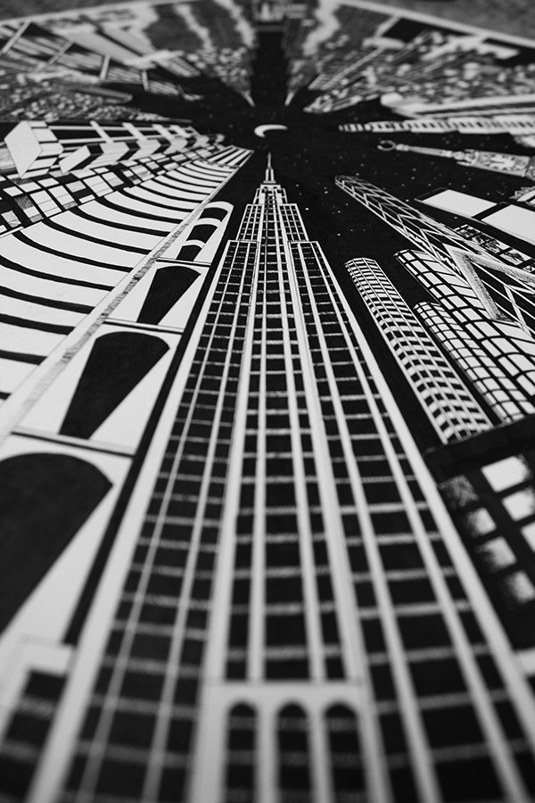 Fantasy City Perspective Drawing On Behance