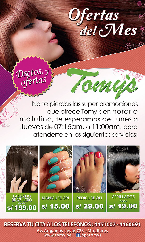 Dise o publicitario tomy 39 s sal n de belleza on behance for Spa y salon de belleza