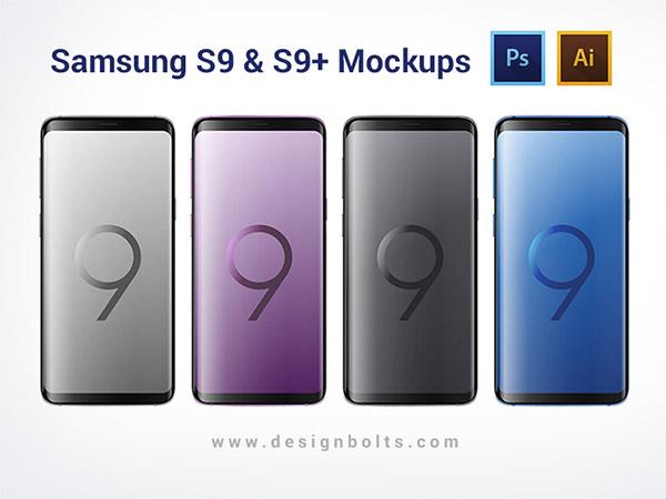 Free Samsung Galaxy S9 & S9+ Mockup Ai & PSD on Pantone