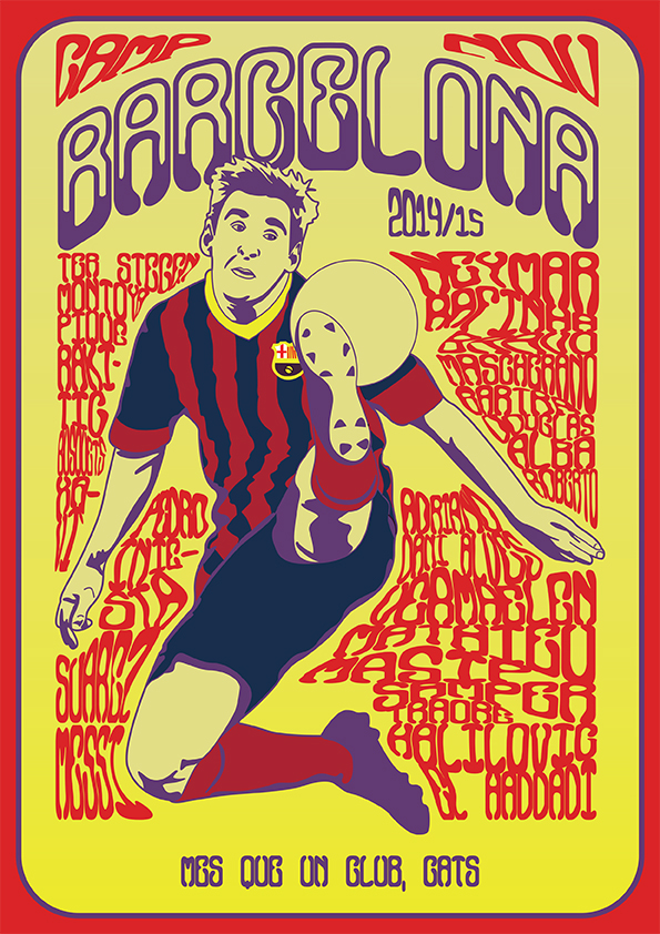 Soccerdelica football soccer psychedelia wes wilson barcelona bayern munich Barca messi guardiola Manchester United angél di maría Real Madrid cristiano ronaldo