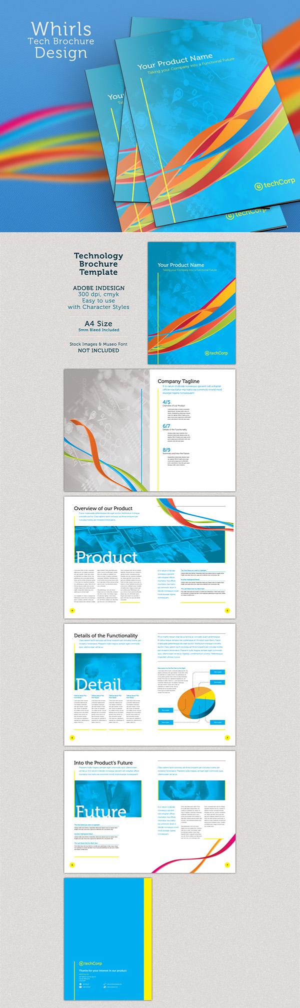 technology brochure template - whirls technology a4 brochure template on behance