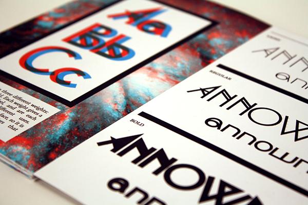 type specimen print brochure pamphlet 3D unknown trippy sans serif clean