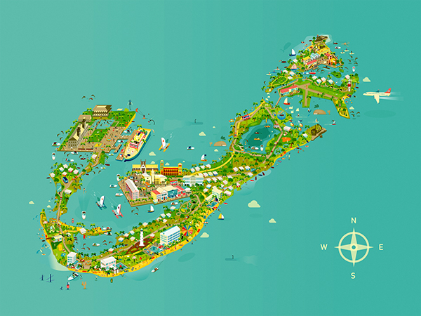 Bermuda map on Behance