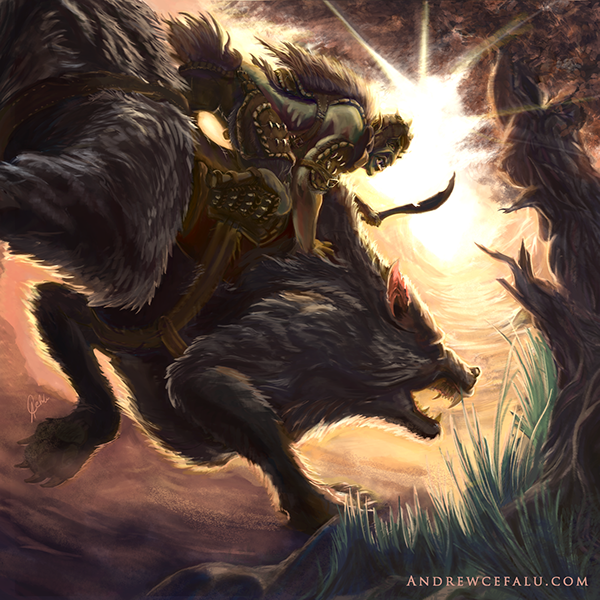 Orc Warg Rider on Behance Warg Riders Drawings