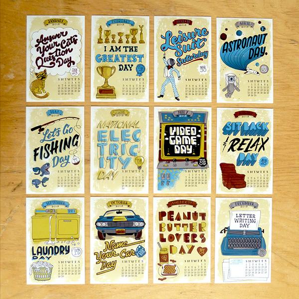 Calendar Typography S : Calendar of silly holidays on behance