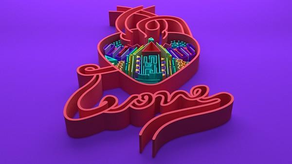 Love 3D amor blender Render red lettering heart corazon