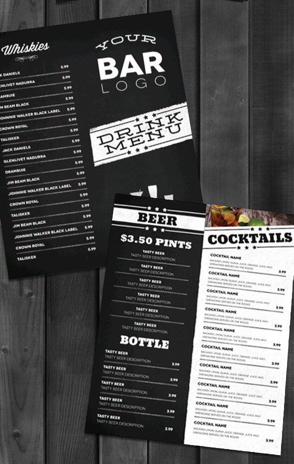 Lounge Bar Drink Menu (Modern) On Behance  Drinks Menu Template
