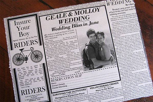 A Wedding Invitation Based On 1920s Newspaper Every Article And Advertisement Gives Insight Into The Bride Groom Printed News Stock Torn