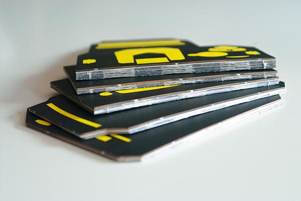 social environment package SRL camera screen printing folding cutting black yellow