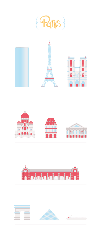 New York nyc Landscape city view digital vector red blue building house poster print Paris London