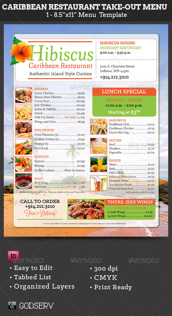 caribbean restaurant takeout menu template on behance