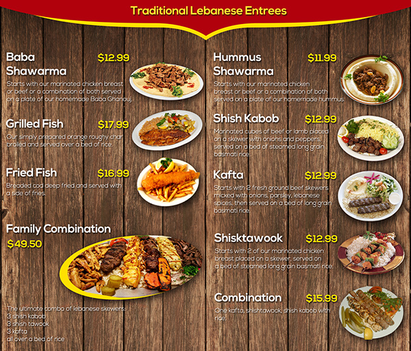 Lebanese food menu with pictures for Arabic cuisine menu