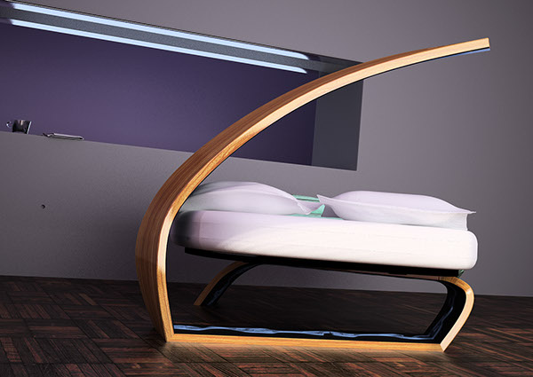 bed furniture wood led product