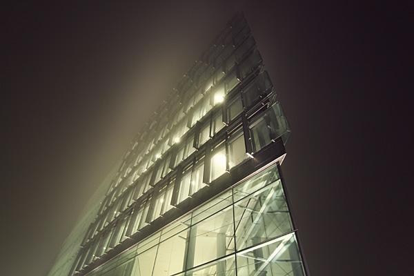 fog mist night city structures buildings light copenhagen harbour ship vintage Retro desolate solitude lonely epic structure tall atmosphere eerie