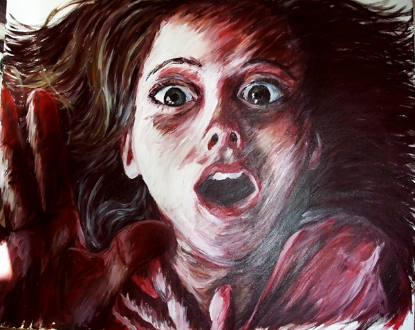 Acrylic On Canvas Girl In Fear Using Expressive