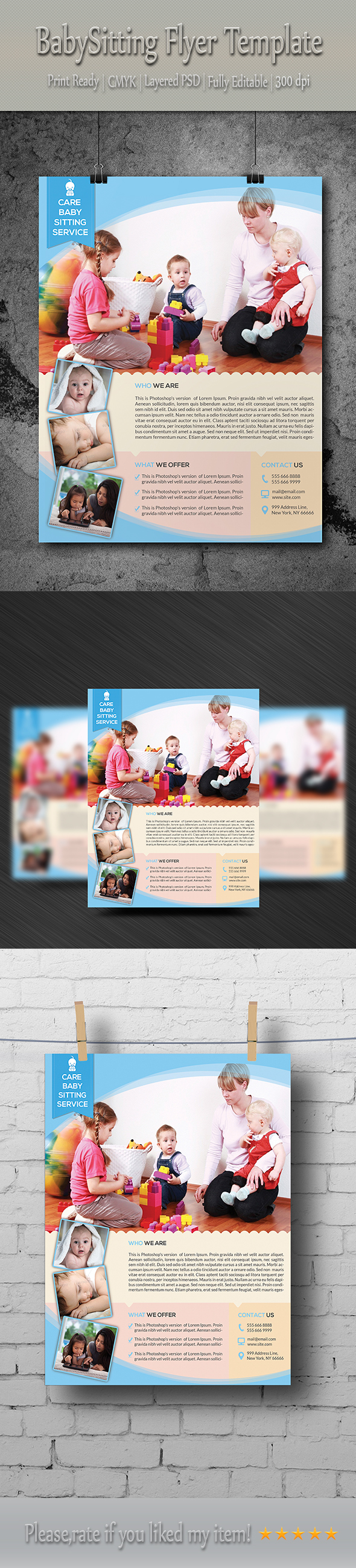 babysitting daycare flyer template on behance