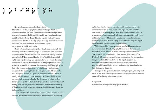 type specimen Braille Kobigraph letterforms letters design uni tactile dots creative alternative accessible graphics cambridge