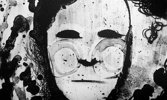 person feelings litho litografia carcomiendome Opposite oso bear DM woodcut xilografia cuervo textura natural stone
