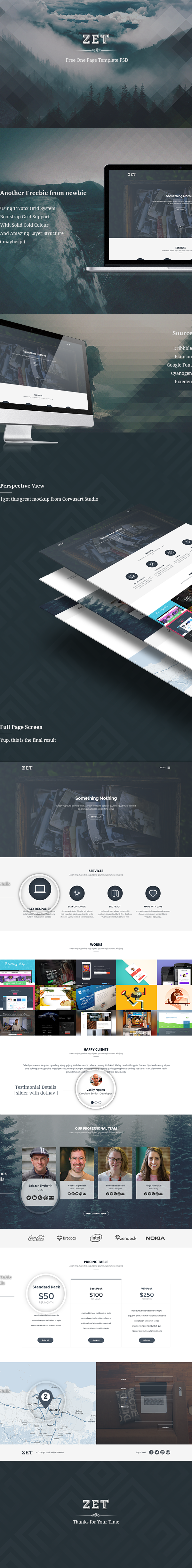 zet free one page template psd on behance