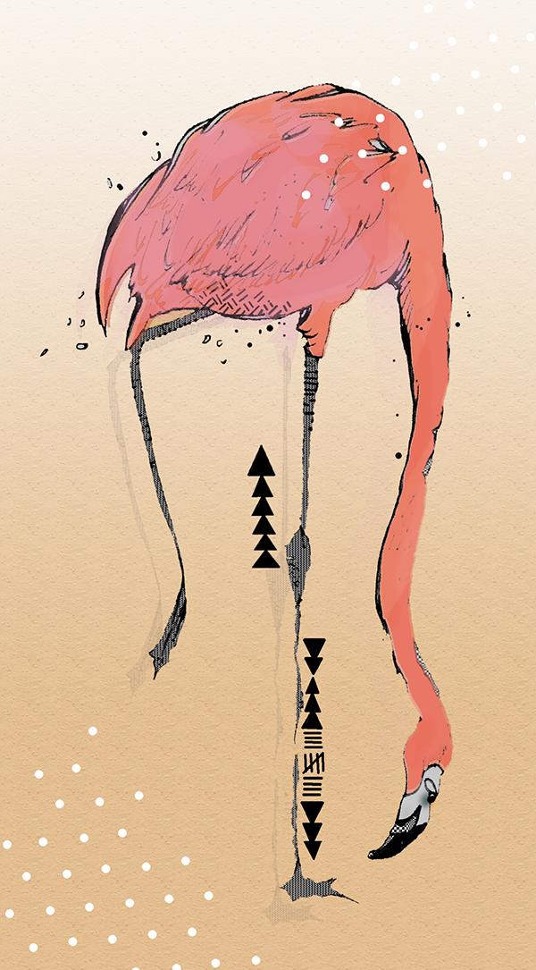 painting flamingo bird art